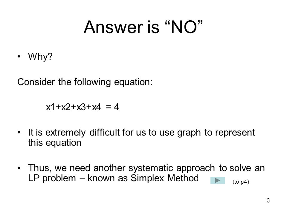 Answer is NO Why Consider the following equation: x1+x2+x3+x4 = 4