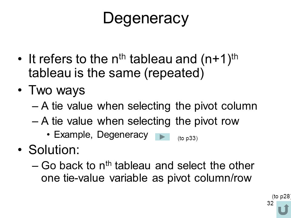 Degeneracy It refers to the nth tableau and (n+1)th tableau is the same (repeated) Two ways. A tie value when selecting the pivot column.