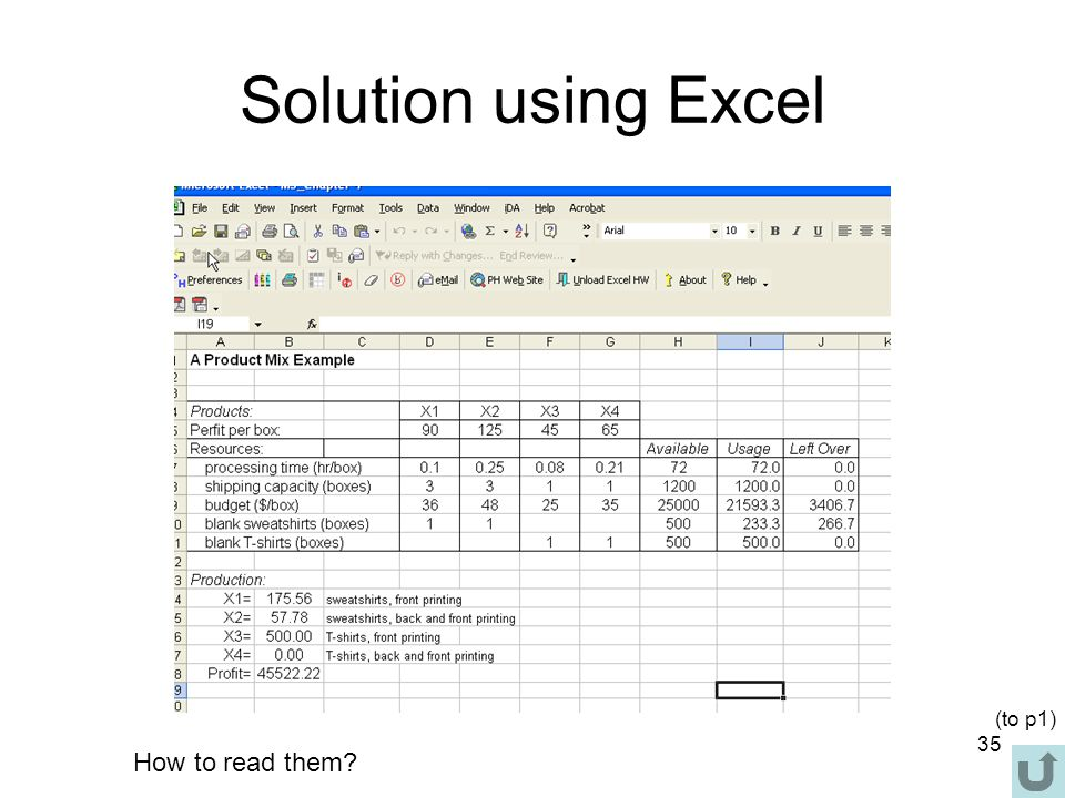 Solution using Excel (to p1) How to read them