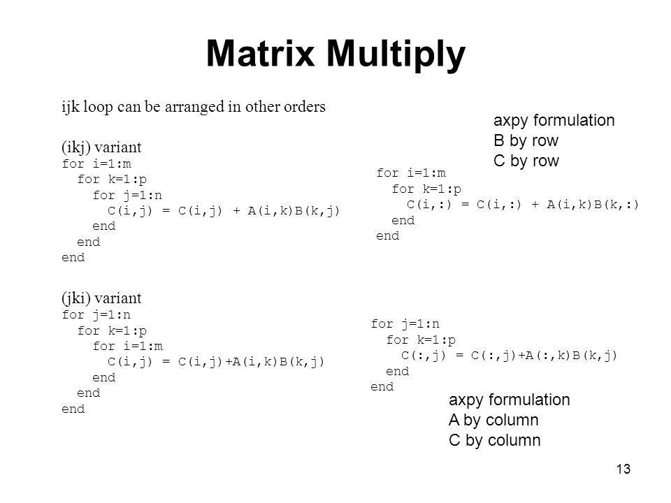 Matrix Multiply ijk loop can be arranged in other orders