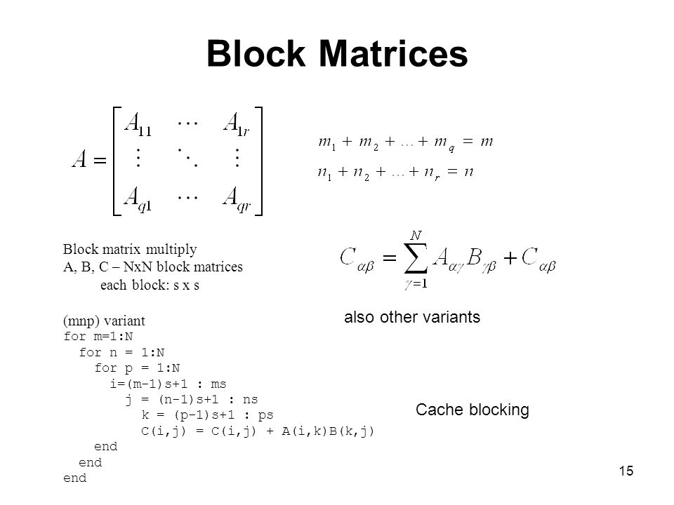 Block Matrices also other variants Cache blocking