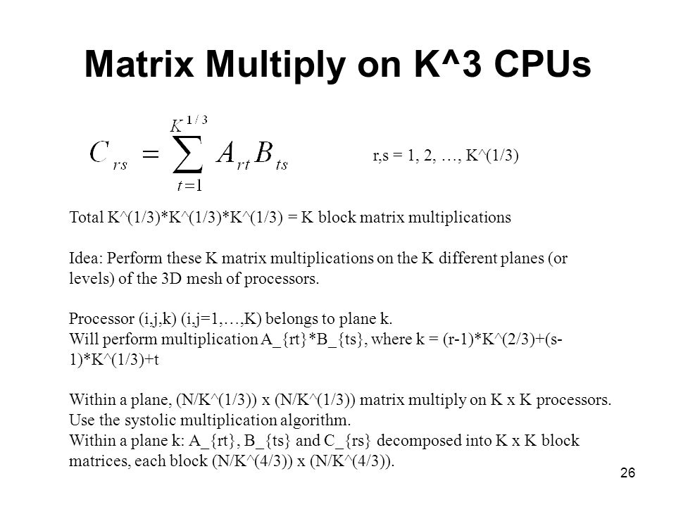 Matrix Multiply on K^3 CPUs
