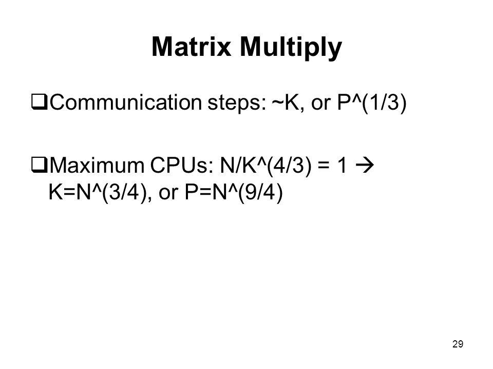 Matrix Multiply Communication steps: ~K, or P^(1/3)