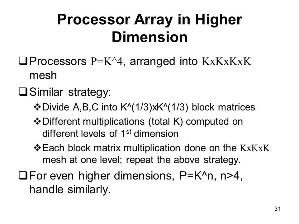 Processor Array in Higher Dimension