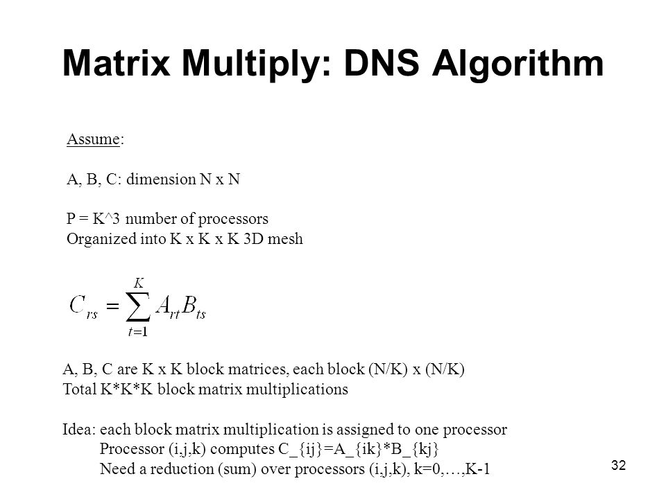 Matrix Multiply: DNS Algorithm
