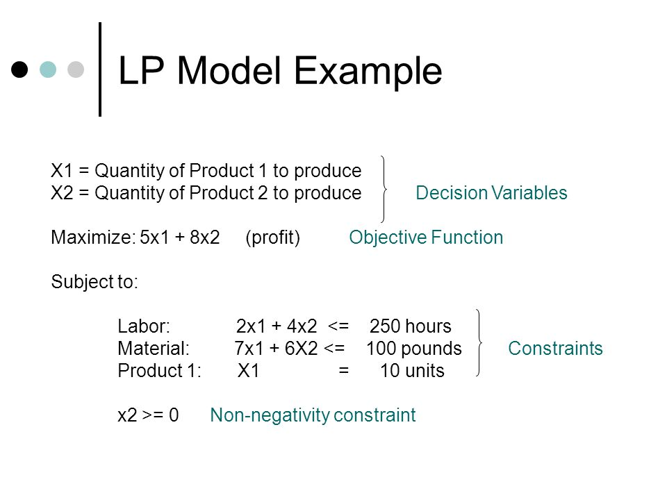 LP Model Example X1 = Quantity of Product 1 to produce
