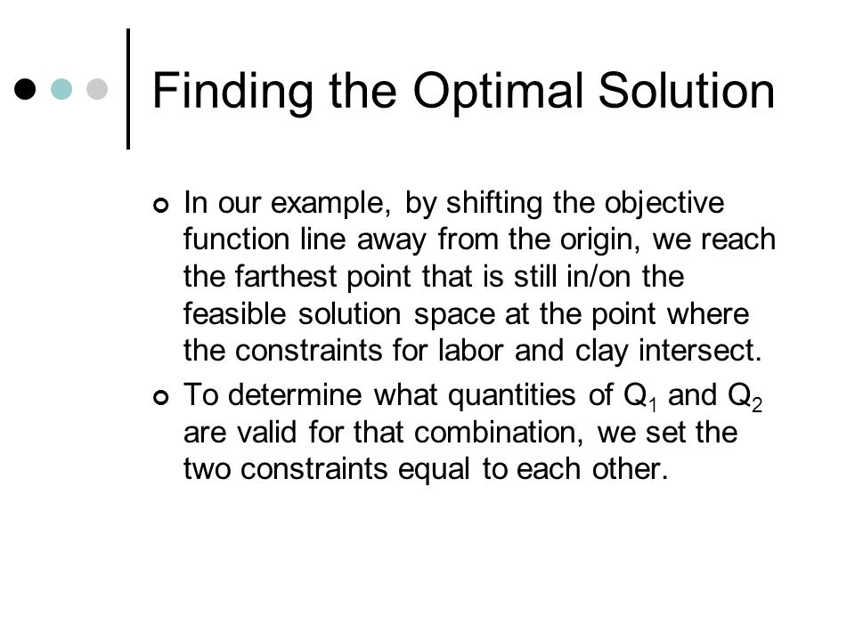 Finding the Optimal Solution