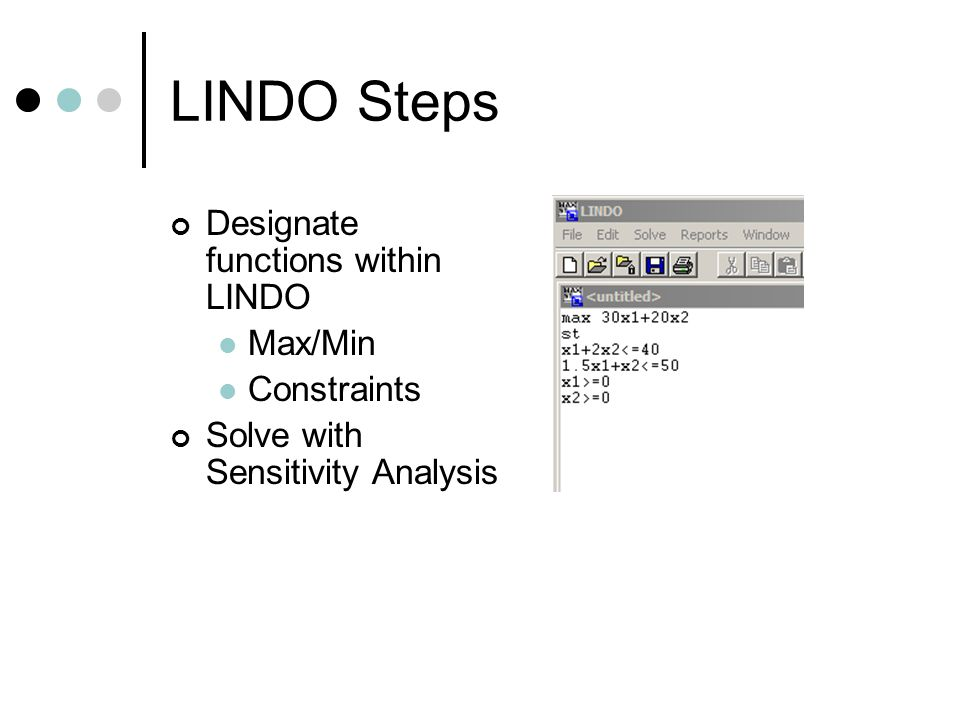 LINDO Steps Designate functions within LINDO Max/Min Constraints
