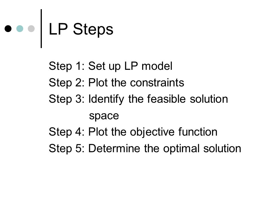 LP Steps Step 1: Set up LP model Step 2: Plot the constraints