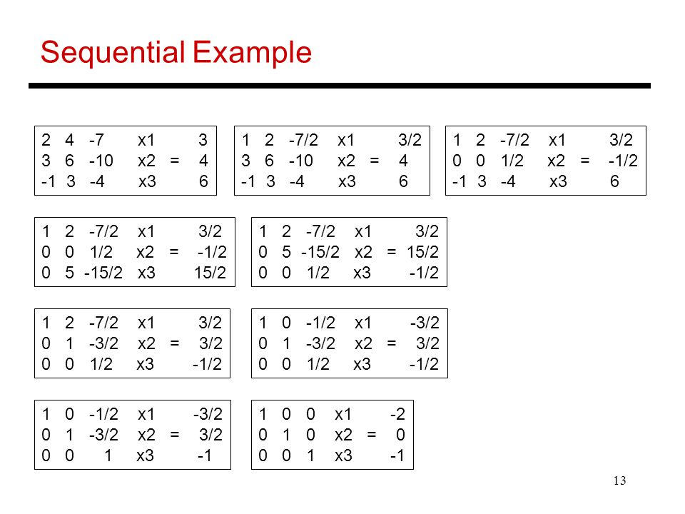 Sequential Example 2 4 -7 x1 3 3 6 -10 x2 = 4 -1 3 -4 x3 6