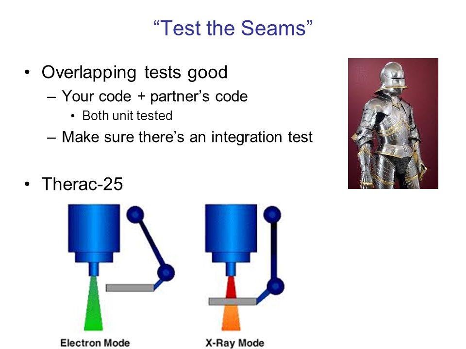 Test the Seams Overlapping tests good Therac-25