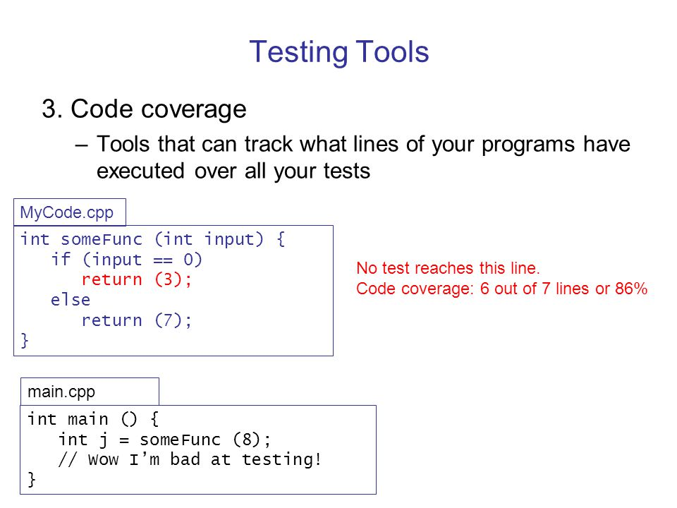 Testing Tools 3. Code coverage