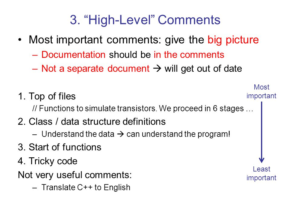 3. High-Level Comments
