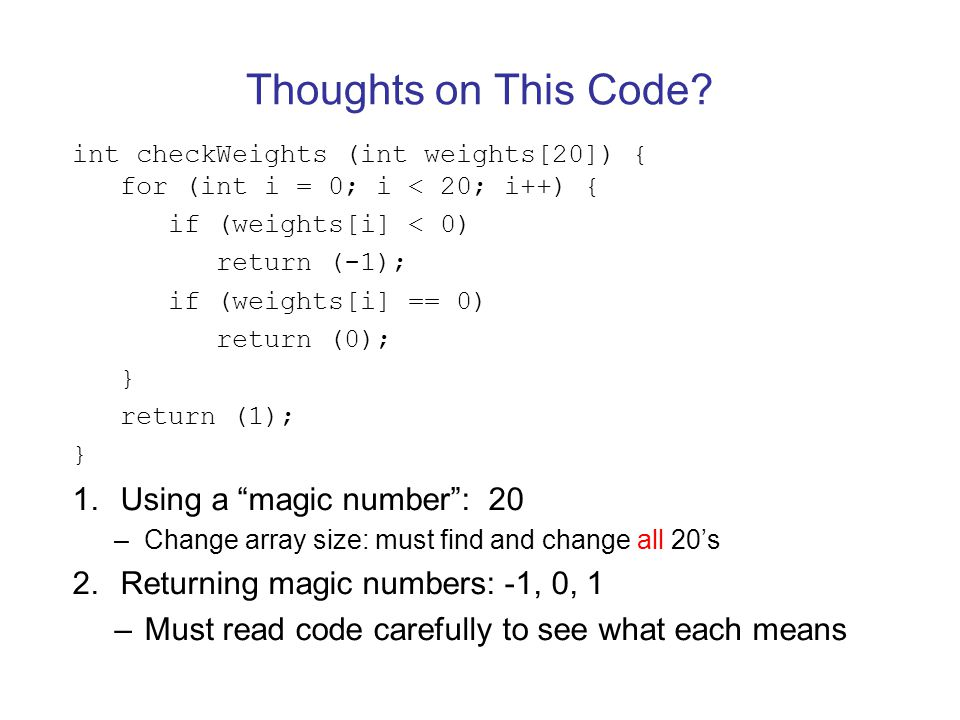 Thoughts on This Code Using a magic number : 20
