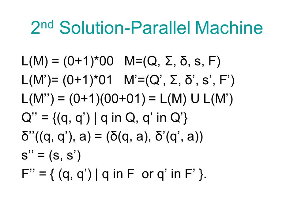 2nd Solution-Parallel Machine