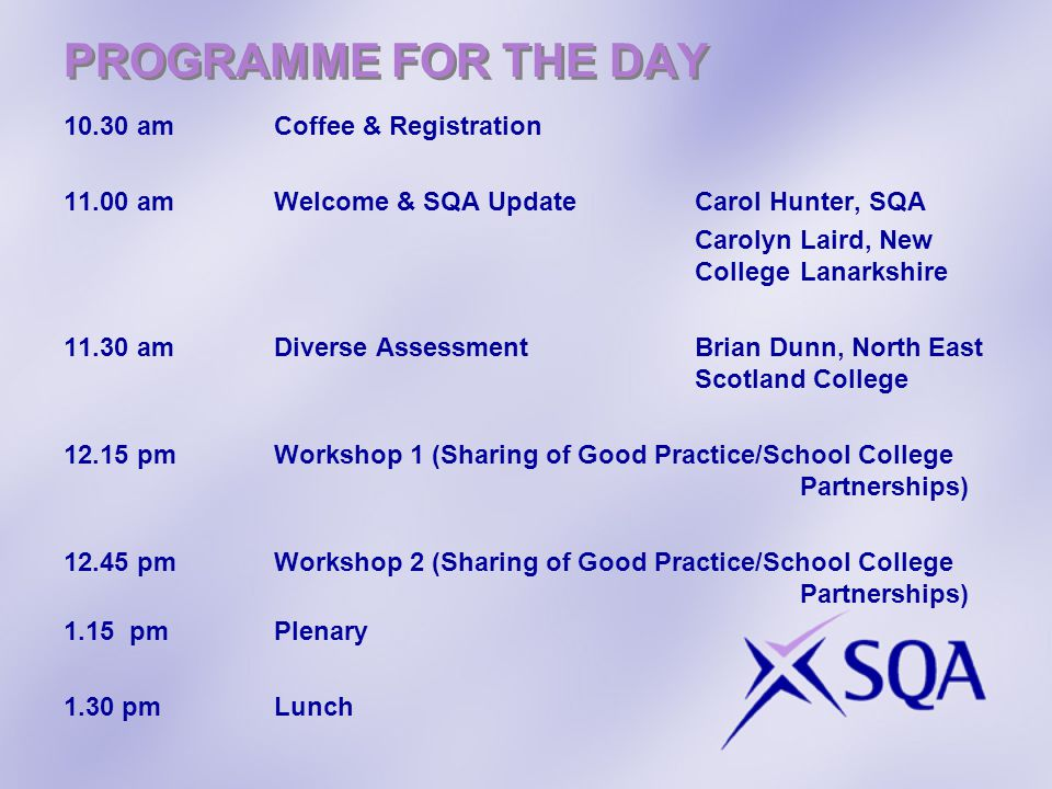 PROGRAMME FOR THE DAY 10.30 am Coffee & Registration