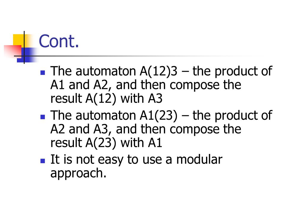 Cont. The automaton A(12)3 – the product of A1 and A2, and then compose the result A(12) with A3.