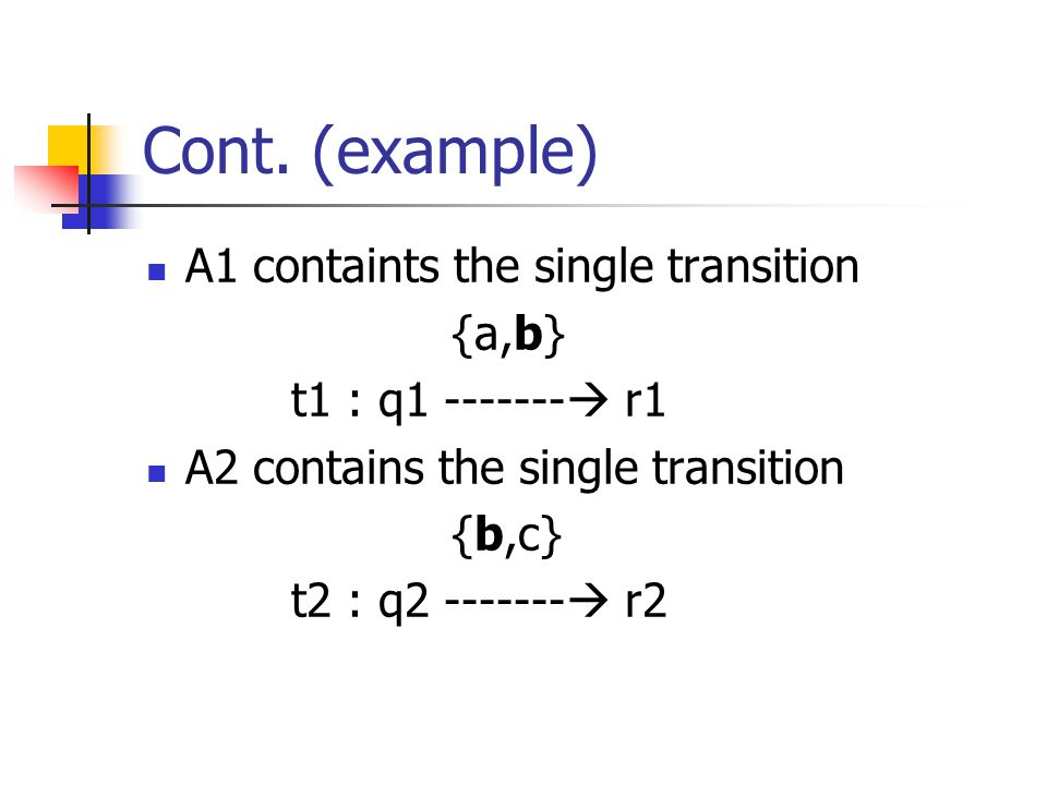 Cont. (example) A1 containts the single transition {a,b}