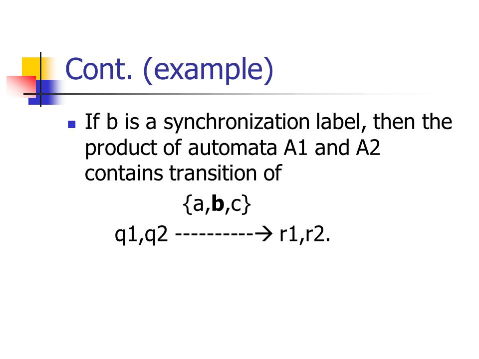 Cont. (example) If b is a synchronization label, then the product of automata A1 and A2 contains transition of.