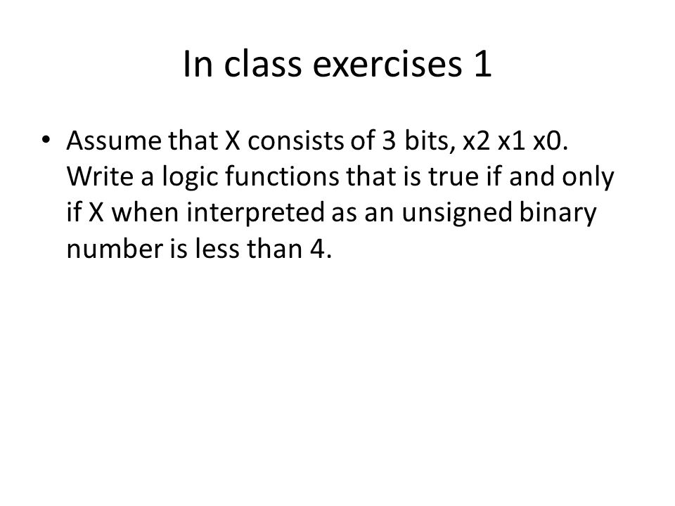 In class exercises 1