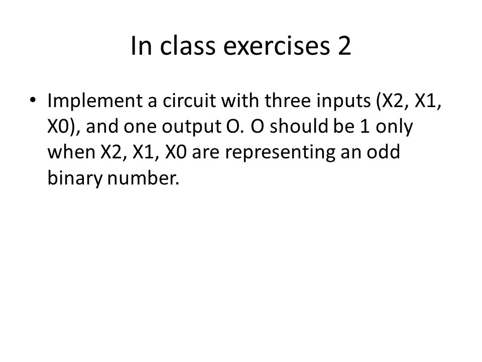 In class exercises 2