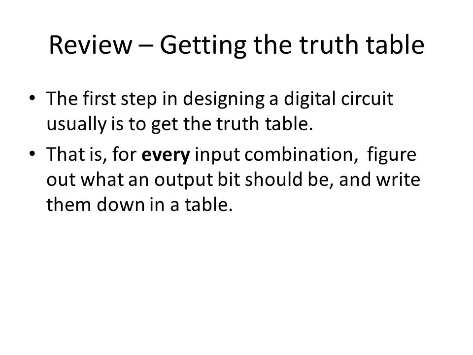 Review – Getting the truth table
