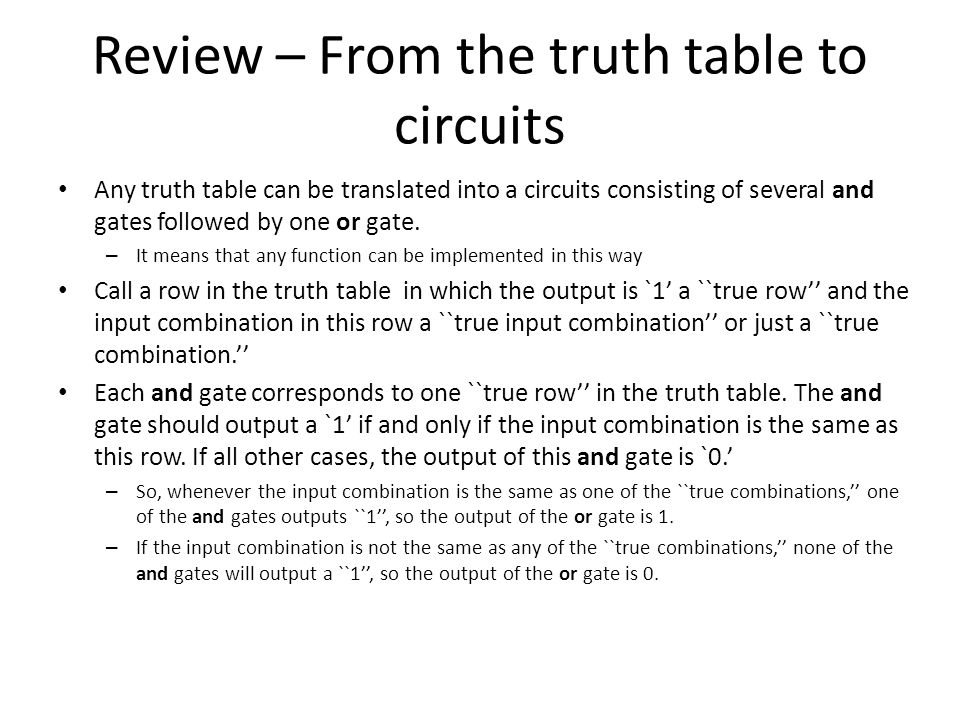 Review – From the truth table to circuits
