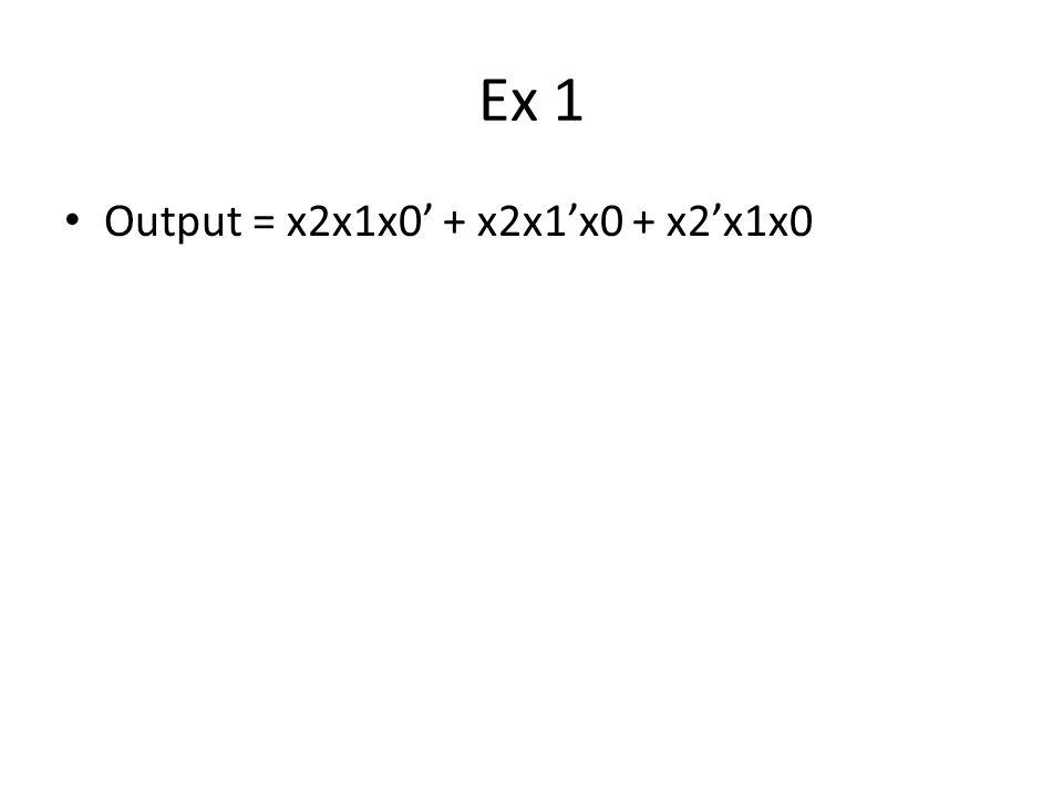 Ex 1 Output = x2x1x0' + x2x1'x0 + x2'x1x0