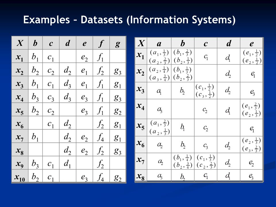 Examples – Datasets (Information Systems)