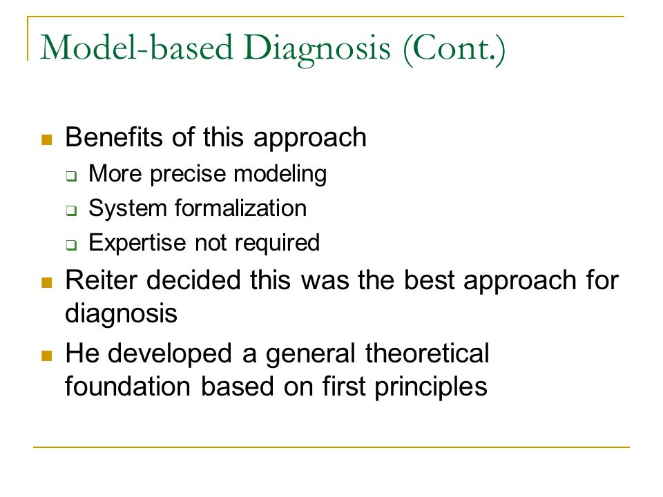 Model-based Diagnosis (Cont.)