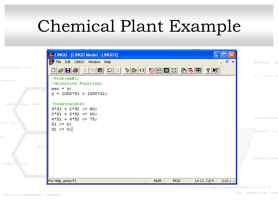 Chemical Plant Example
