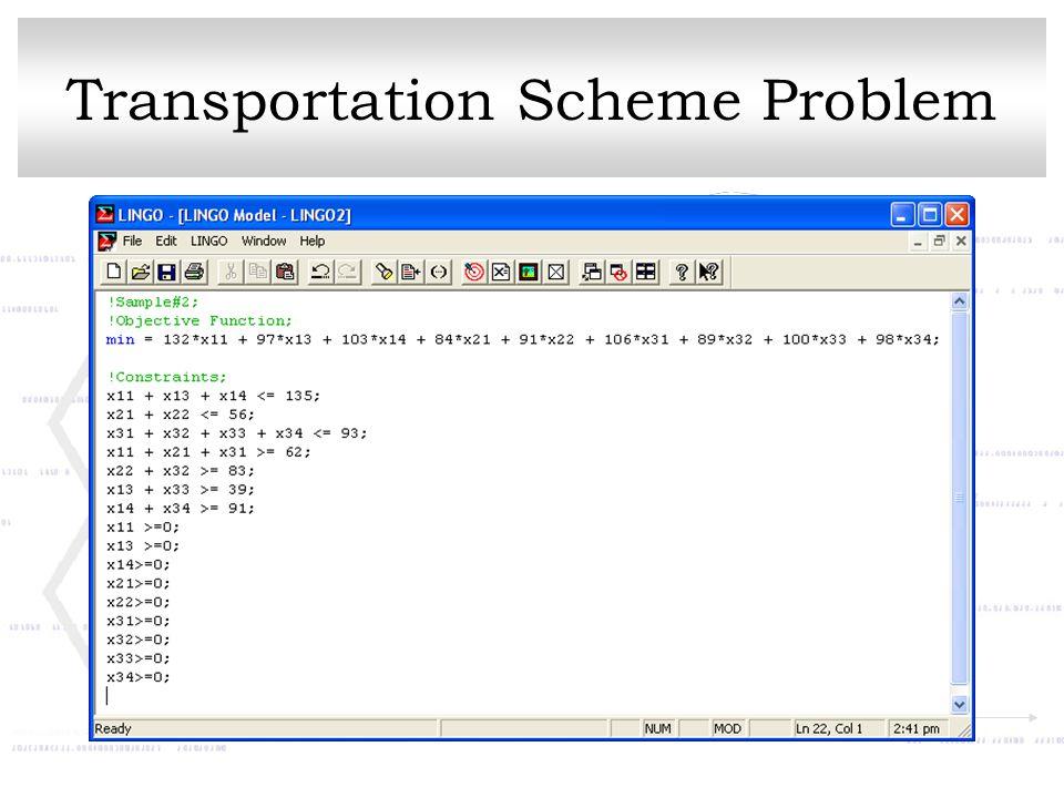Transportation Scheme Problem