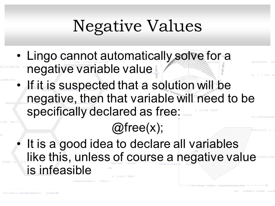 Negative Values Lingo cannot automatically solve for a negative variable value.