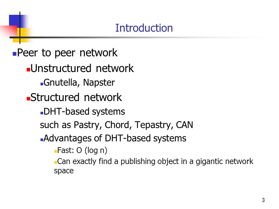 Introduction Peer to peer network Unstructured network