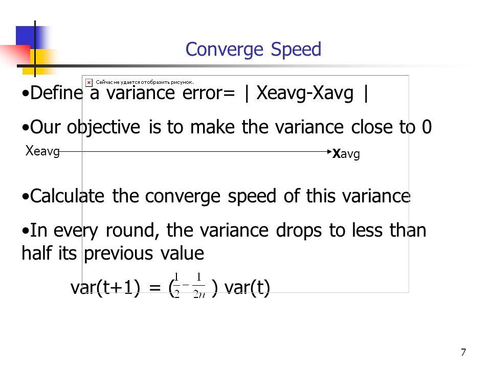 Define a variance error= | Xeavg-Xavg |