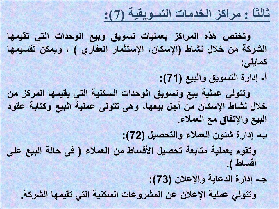 ثالثاً : مراكز الخدمات التسويقية (7):