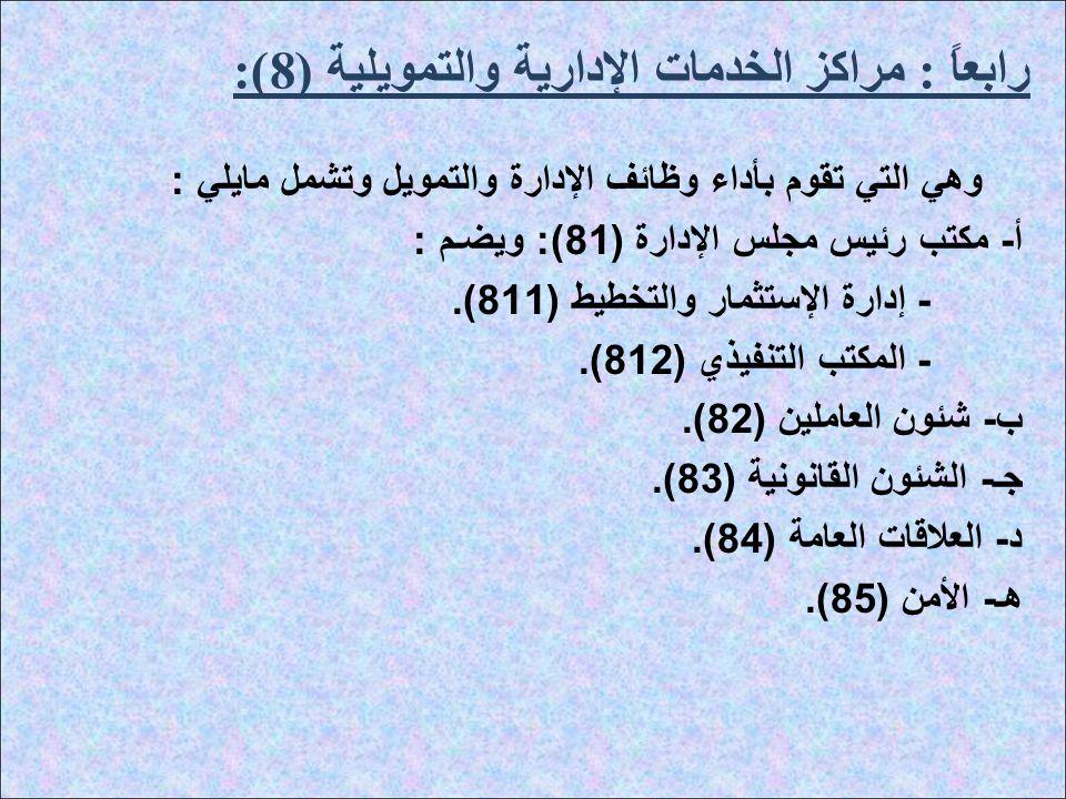 رابعاً : مراكز الخدمات الإدارية والتمويلية (8):