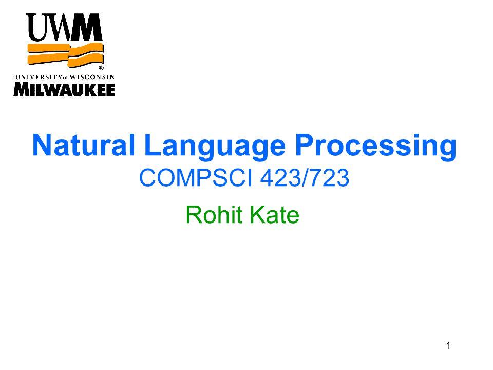Natural Language Processing COMPSCI 423/723