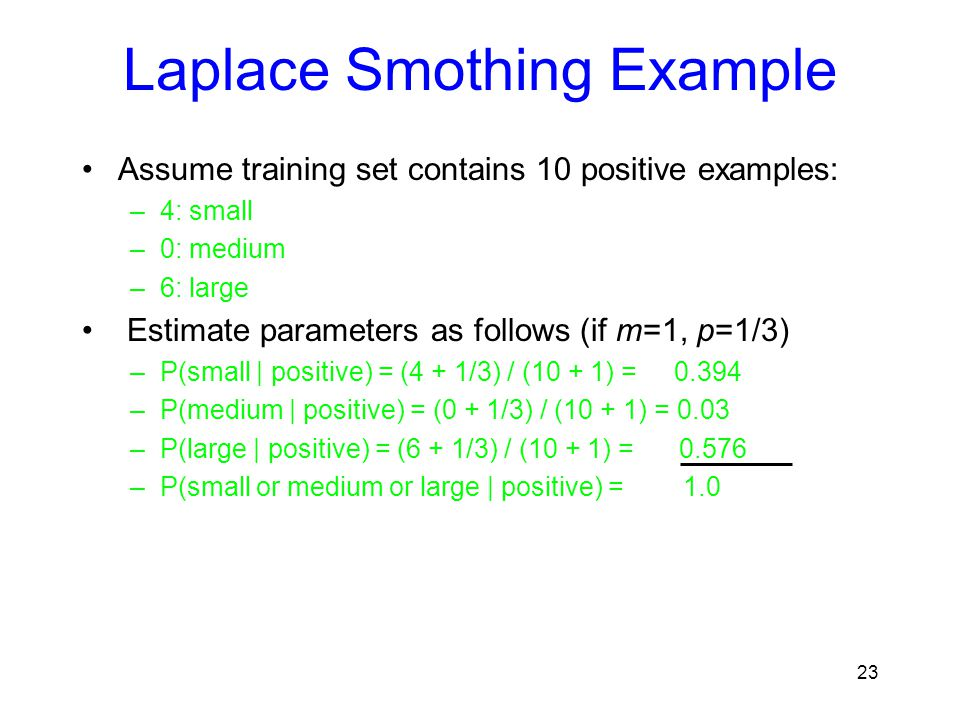 Laplace Smothing Example