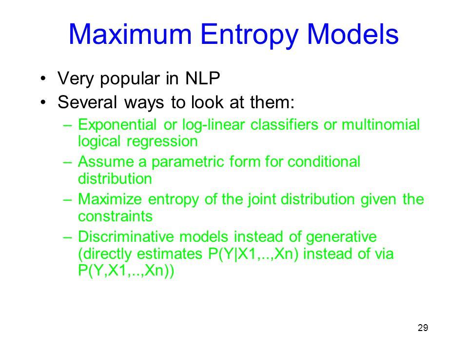 Maximum Entropy Models