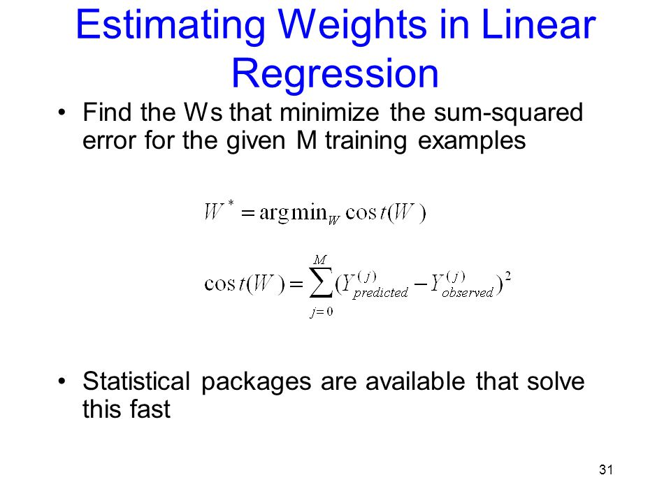 Estimating Weights in Linear Regression