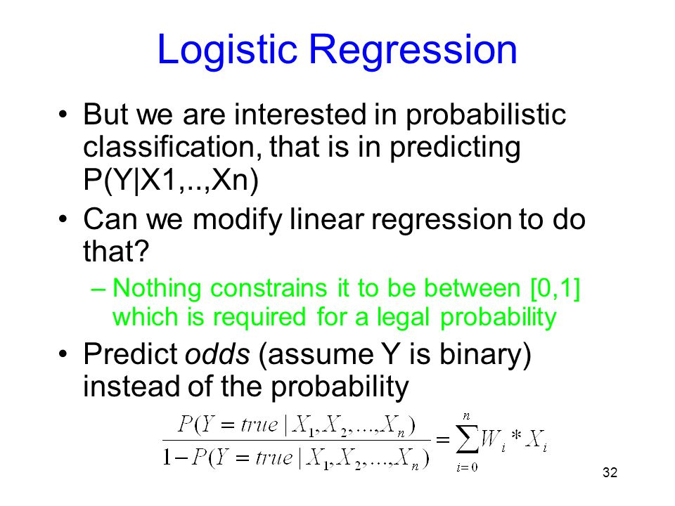 Logistic Regression But we are interested in probabilistic classification, that is in predicting P(Y|X1,..,Xn)