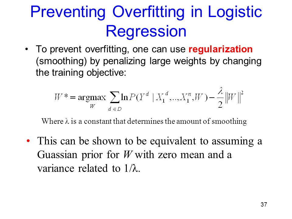 Preventing Overfitting in Logistic Regression