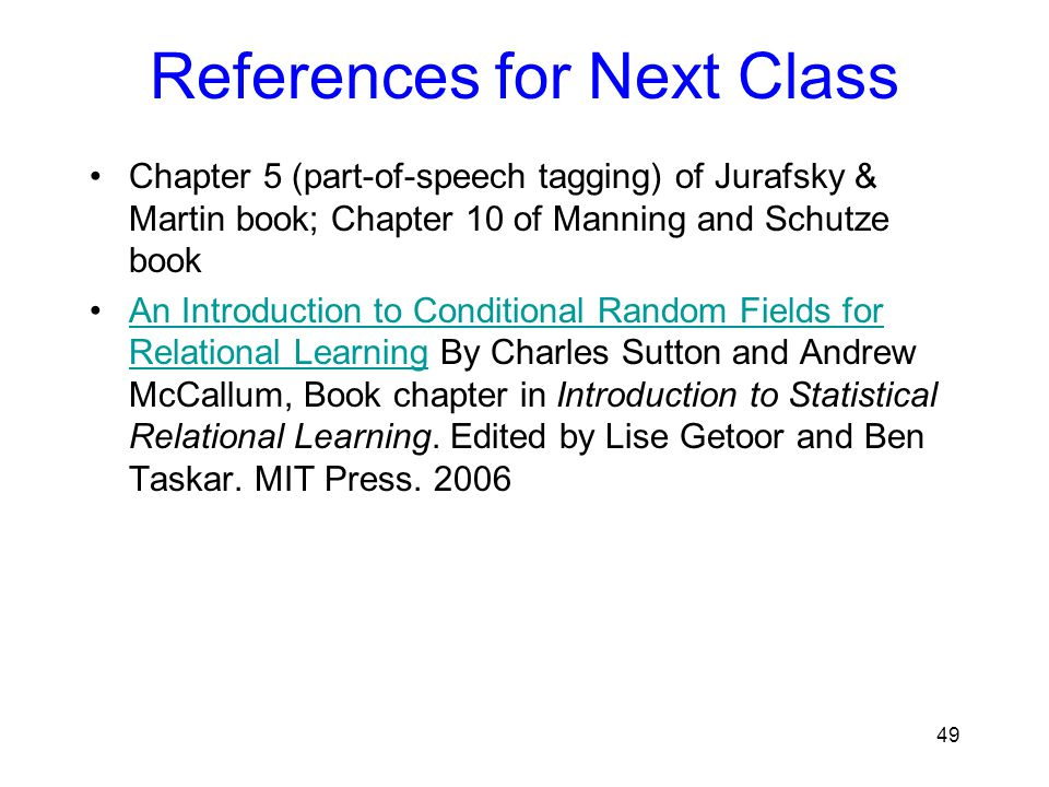 References for Next Class