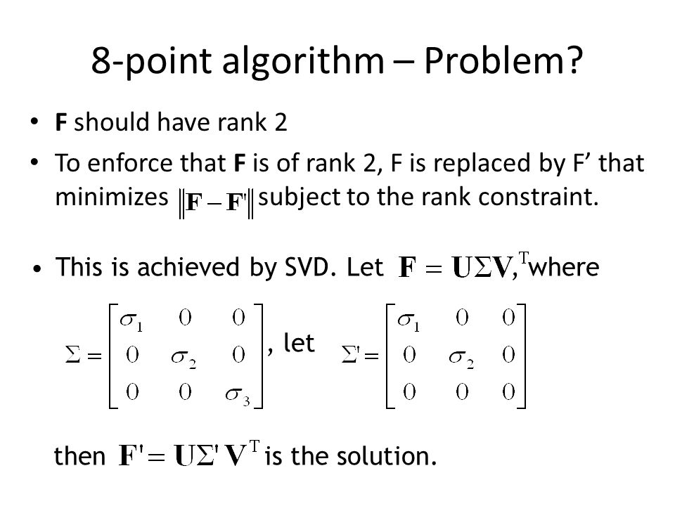 8-point algorithm – Problem