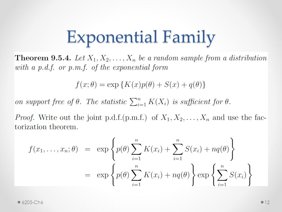 Exponential Family 6205-Ch6
