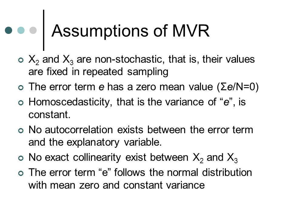 Assumptions of MVR X2 and X3 are non-stochastic, that is, their values are fixed in repeated sampling.