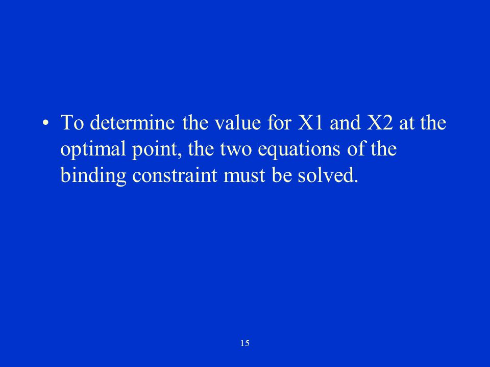 To determine the value for X1 and X2 at the optimal point, the two equations of the binding constraint must be solved.