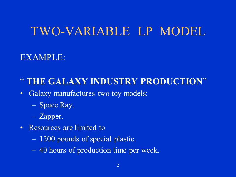 TWO-VARIABLE LP MODEL EXAMPLE: THE GALAXY INDUSTRY PRODUCTION