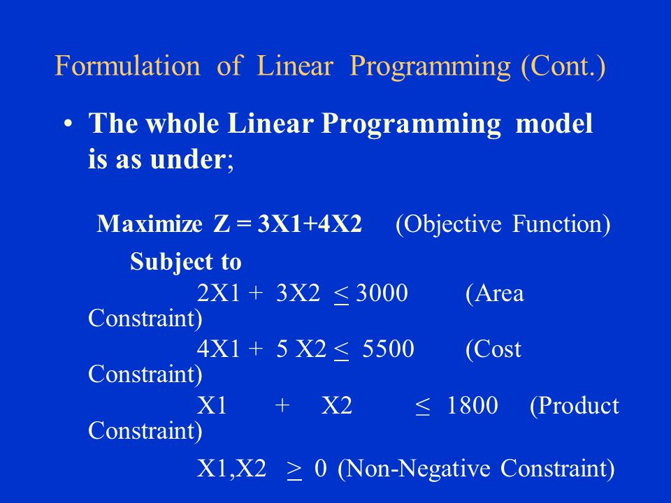 Formulation of Linear Programming (Cont.)